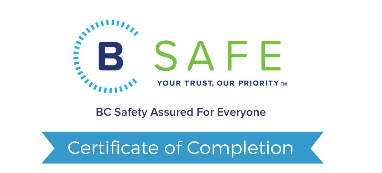 BeSafe Certificate snip